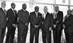 Kappa Alpha Psi Fraternity Inc. announced the fraternity will be celebrating its 100th anniversary July 2011 in Indiana. Pictured are speakers during the celebration kick-off and press conference. Left to right: Peter Smithhisler, president and CEO of the North-America Interfraternity Conference; Geordan Coleman, member; Eugene Murray, Indianapolis alumni chapter polemarch; Al White, grand keeper of records & exchequer for Kappa Alpha Psi; Don Welsh, president and CEO of the Indianapolis Convention and Visitors Association; Michael Owens, north central province polemarch; and Eugene Anderson, member.