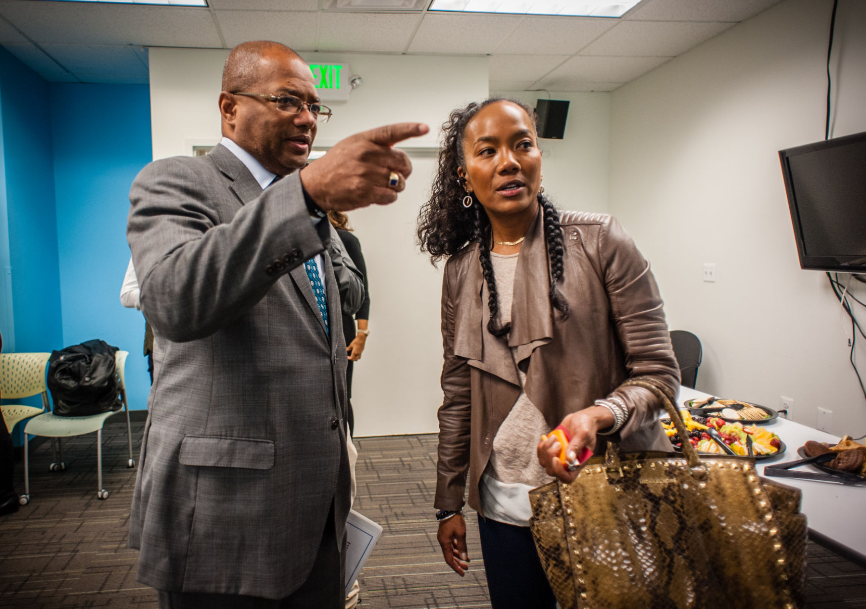 """<p>BALTIMORE, MD — 11/10/15 — Broderick Johnson meets actress and producer Sonja Sohn at the Center for Urban Families in Baltimore. Broderick Johnson is Chair of the My Brother's Keeper Task Force. MBK is President Obama's initiative to expand opportunity for young men of color</p> <p>""""><figcaption class="""