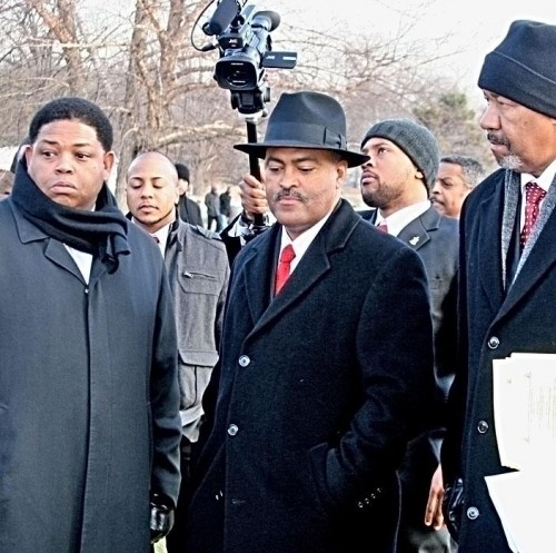 In celebration of their 100th anniversary, members of Kappa Alpha Psi Fraternity Inc. attend a wreath laying ceremony at the Crown Hill Cemetery gravesite of founder Ezra Alexander (1891-1971). Pictured left to right are: Kevin Adams, Dwayne Murray, and John Lanier Sr.