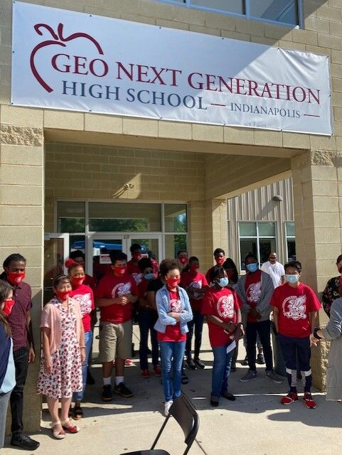 """<p>Students gather to celebrate the opening of GEO Next Generation High School. (Photo provided)</p> <p>""""><figcaption class="""